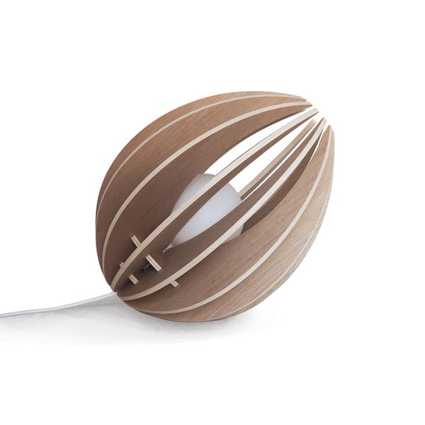 Gone's - FEVE - Lampe à poser en bois chêne naturel avec cordon blanc