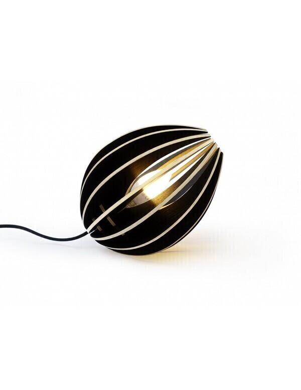 Gone's - FEVE - Lampe à poser en bois frêne teinté noir, cordon noir