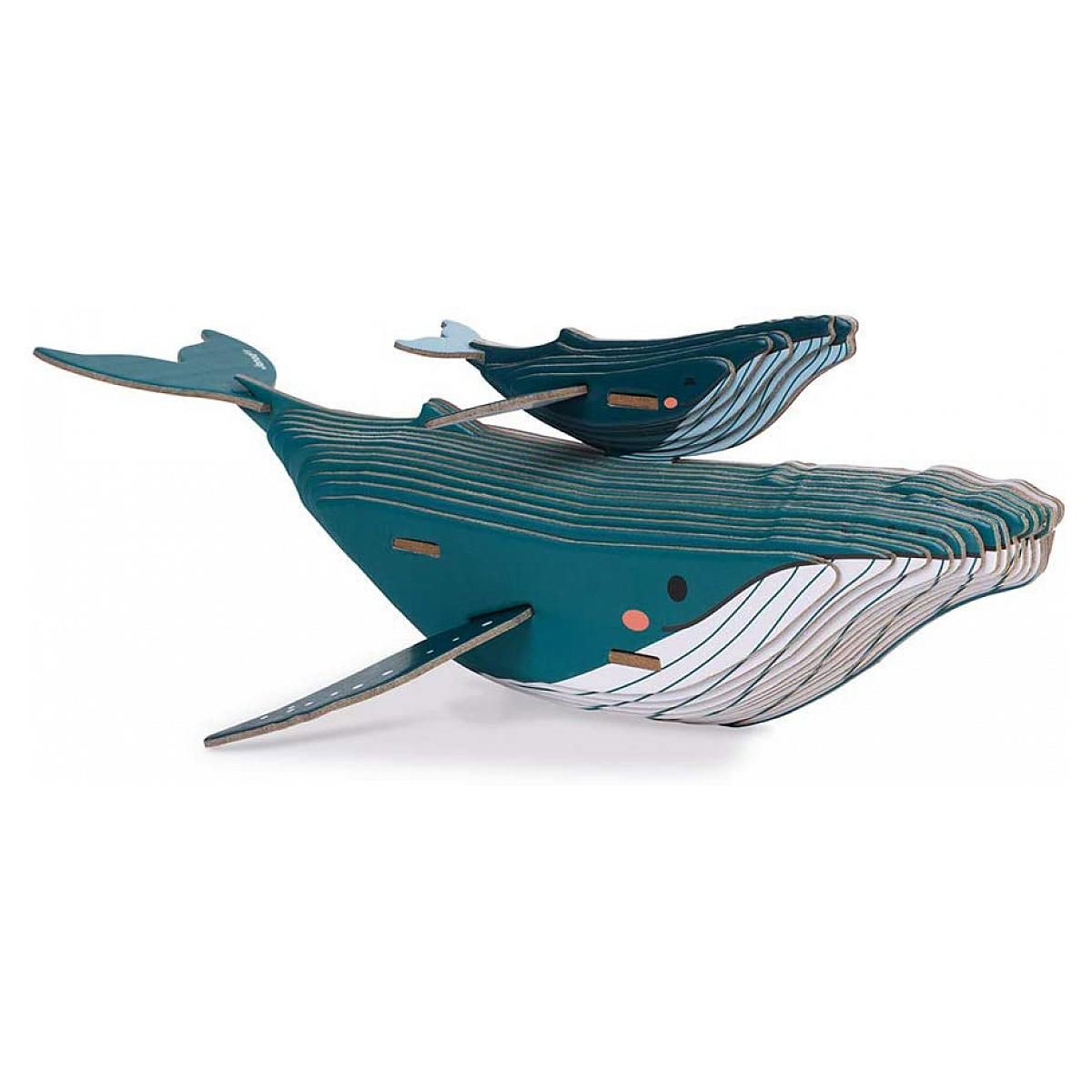 Janod - Puzzle carton en 3D - theme baleine - 43 pieces