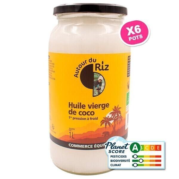 Autour du Riz - L'Asie - Huile de coco vierge extraite à froid 1l - Colis de 6 x 1 L