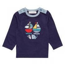 Sense Organics - T-shirt enfant 18 mois, motif Bateau Bleu