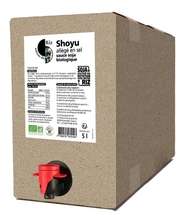 Autour du Riz - L'Asie - Shoyu sauce soja allégé en sel BIB 5L - Commerce équitable