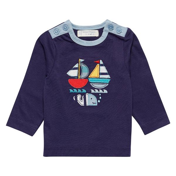 Sense Organics - T-shirt enfant 9 mois, motif Bateau Bleu