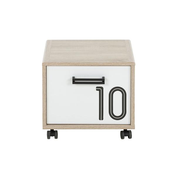 Gami - Chevet 1 porte sur roulettes Kyllian - Chêne et blanc