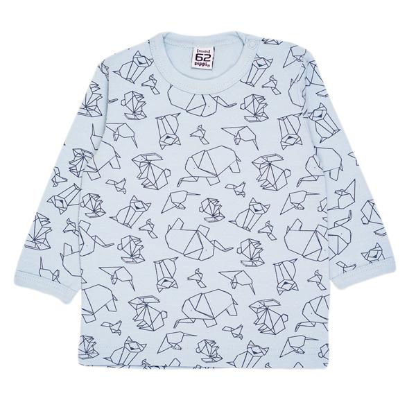 Pippi babyware - t-shirt bébé naissance, motif origami, couleur bleu