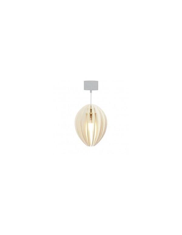Gone's - FEVE - Lampe suspension bois frêne teinté blanc cordon blanc