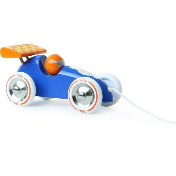 Vilac - Voiture De Course A Traîner Bleue Orange