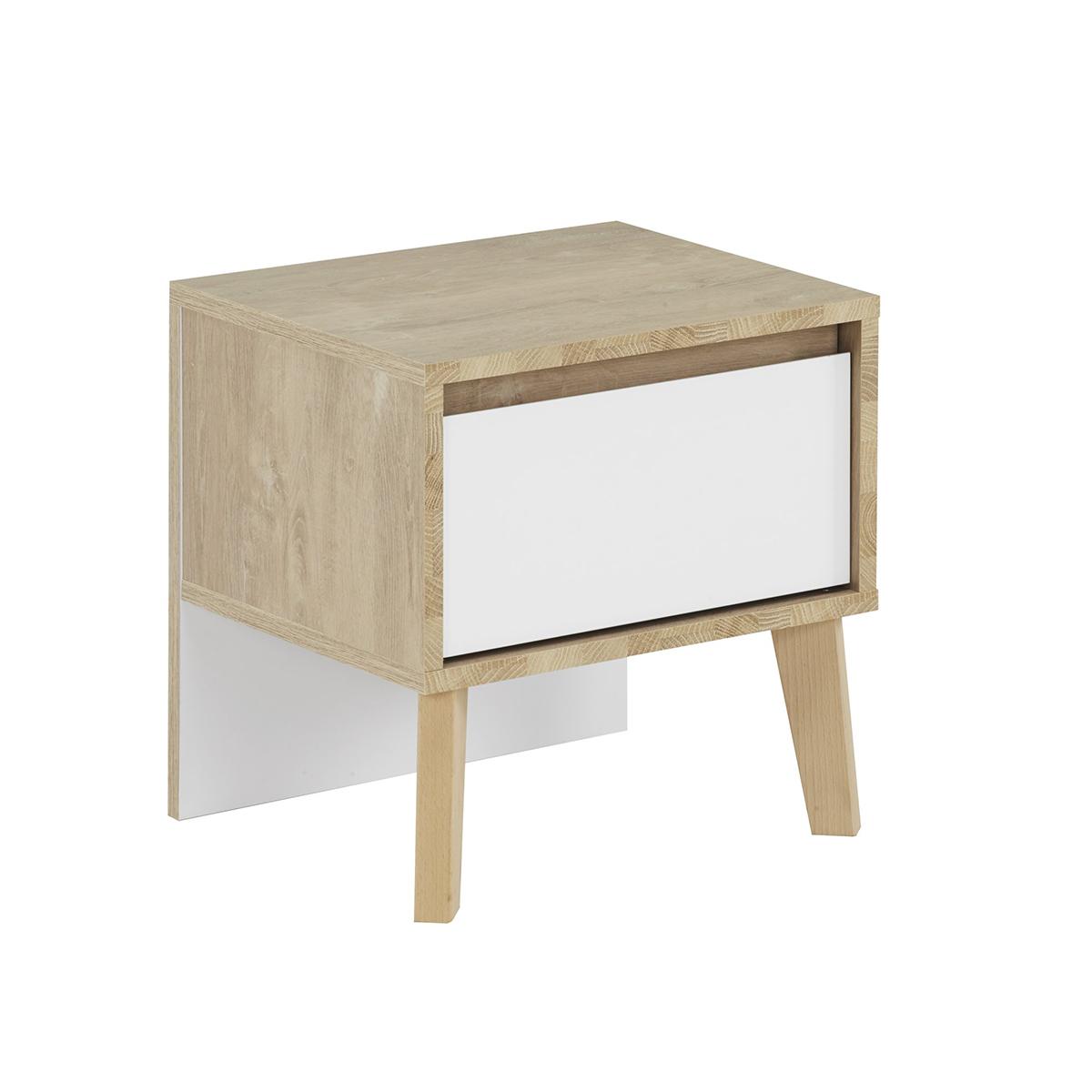 Gami - Chevet 1 tiroir blanc Larvik - Chêne blond