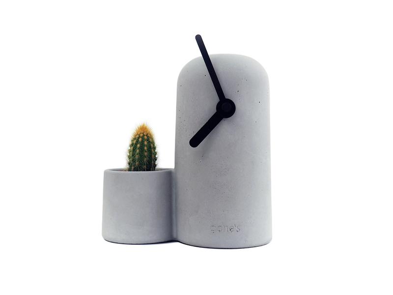 Gone's - SILO - Horloge en béton aiguilles noires