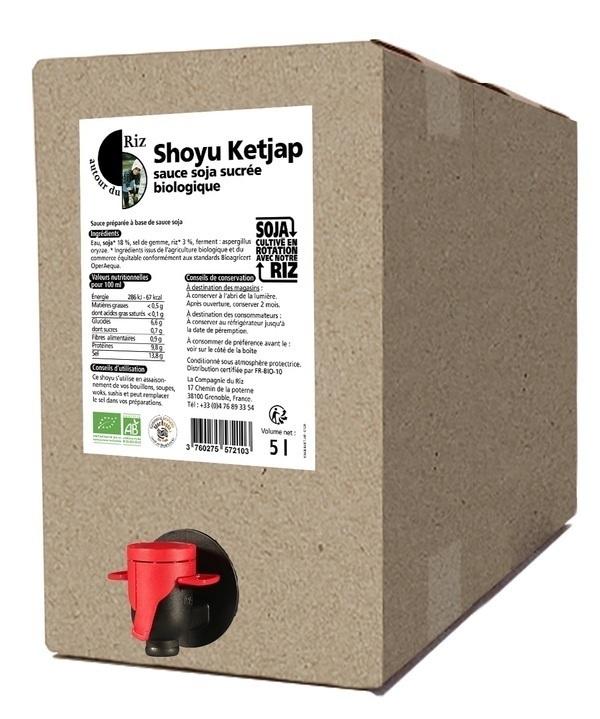Autour du Riz - L'Asie - Shoyu sucré sauce soja Ketjap BIB 5L - Commerce équitable