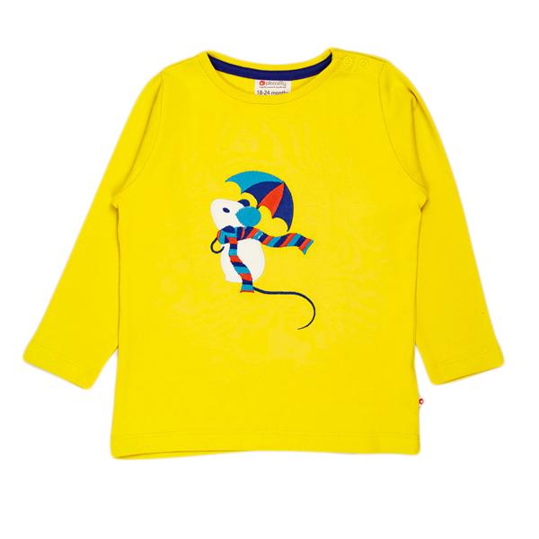 Piccalilly - t-shirt garçon 3 ans, couleur Jaune citron, motif souris