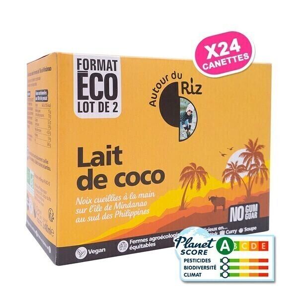 Autour du Riz - L'Asie - Lait de Coco Commerce équitable - Colis de 12 lots de 2 x 400 ml
