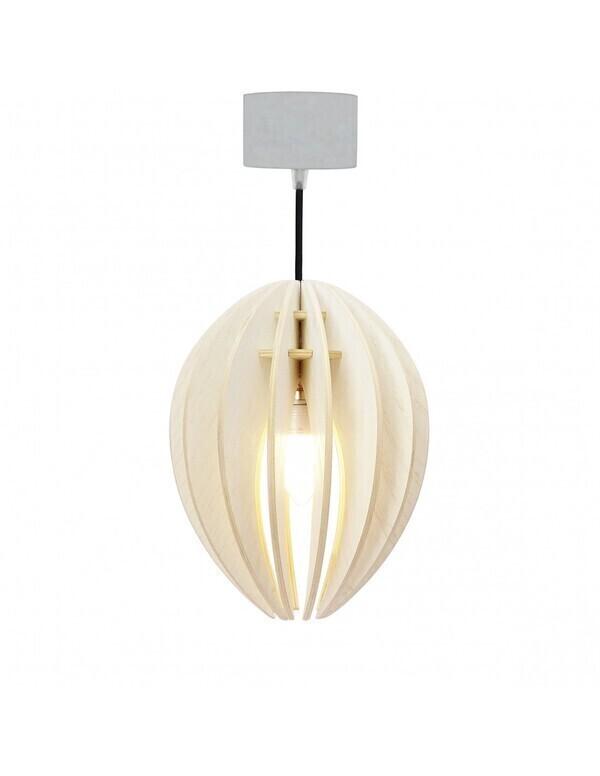 Gone's - FEVE - Lampe suspension bois frêne teinté blanc cordon noir