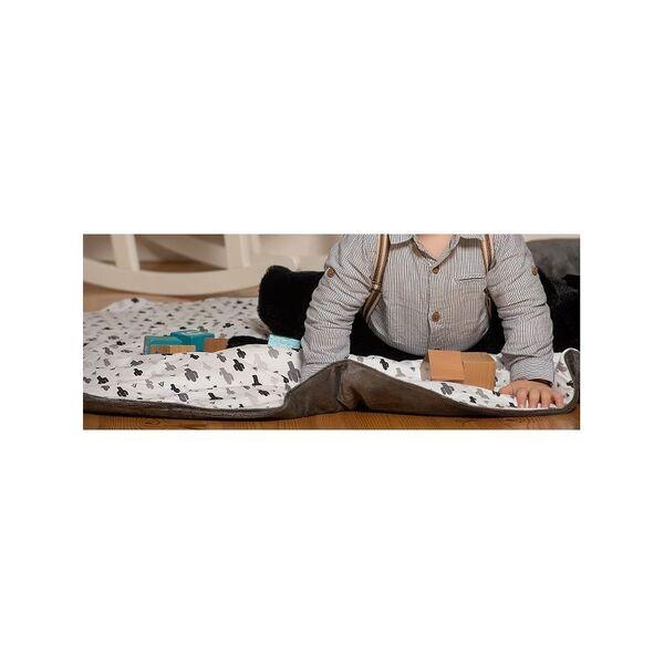 Bb&Co - Tapis de jeu réversible cactus n&b / minky gris foncé