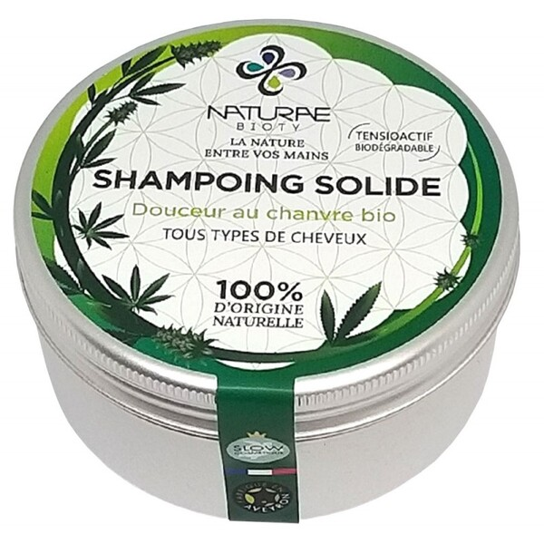 Naturae Bioty - Shampoing solide au chanvre bio-Tous types de cheveux-80 gr