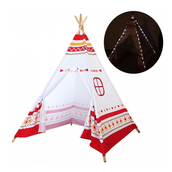 Sunny - Tente Tipi LED lumineuse Rouge et Blanc