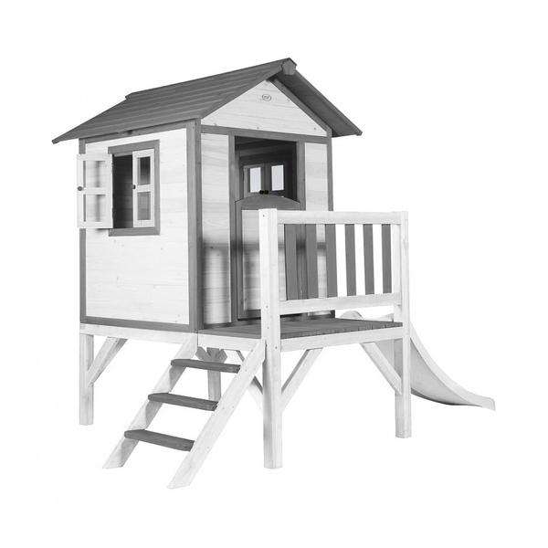 Axi - AXI Maisonnette Lodge XL en bois Blanc gris toboggan Blanc