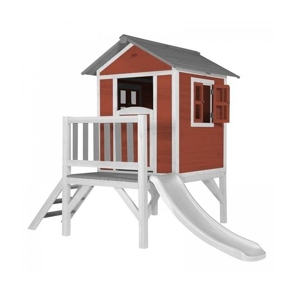 Axi - AXI Maisonnette Lodge XL en bois Rouge toboggan Blanc