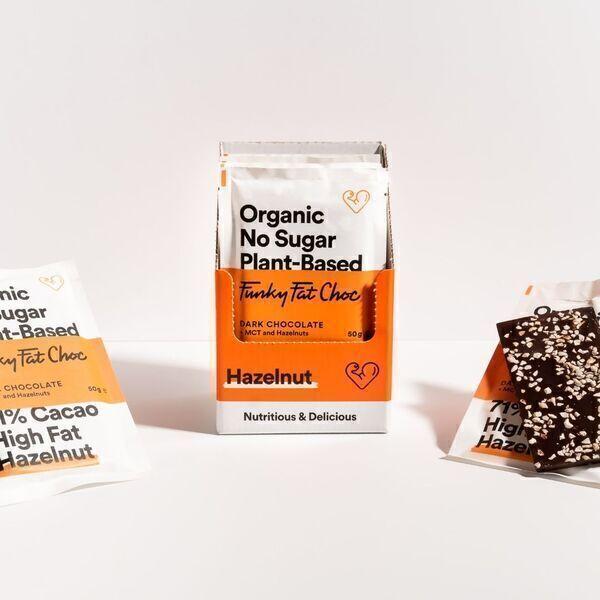 Funky Fat Foods - Chocolat noir avec éclat de Noisettes (sans sucre/low carb)