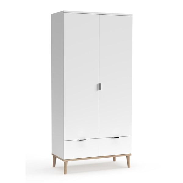 HomeStyle4U - Armoire de rangement 2 portes en bois Blanc 180x90x55cm
