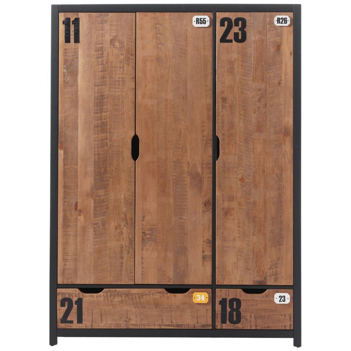 Vipack - ALEX Armoire 3 portes pin massif