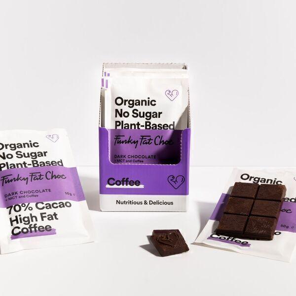 Funky Fat Foods - Chocolat noir avec éclat de café torréfié (sans sucre/low carb)