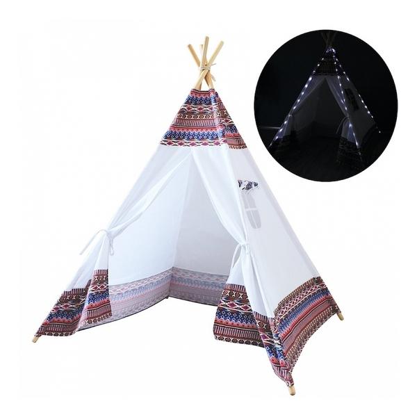 Sunny - Tente Tipi LED lumineuse Multicolor et Blanc
