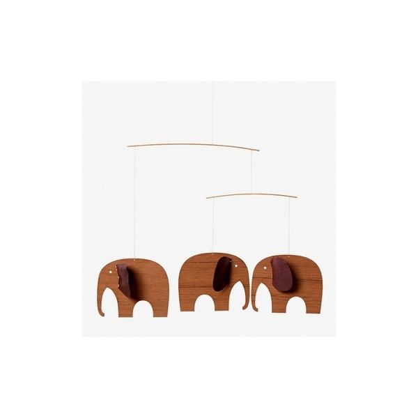 Flensted Mobiles - Mobile décoratif  3 Bebes elephants en bois