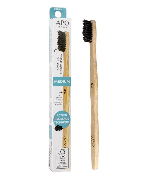 APO - Brosse à dents medium adulte- bambou