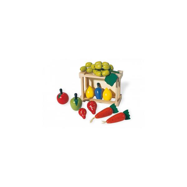 Pinolino - 221404 Cagette avec des fruits et legumes en bois