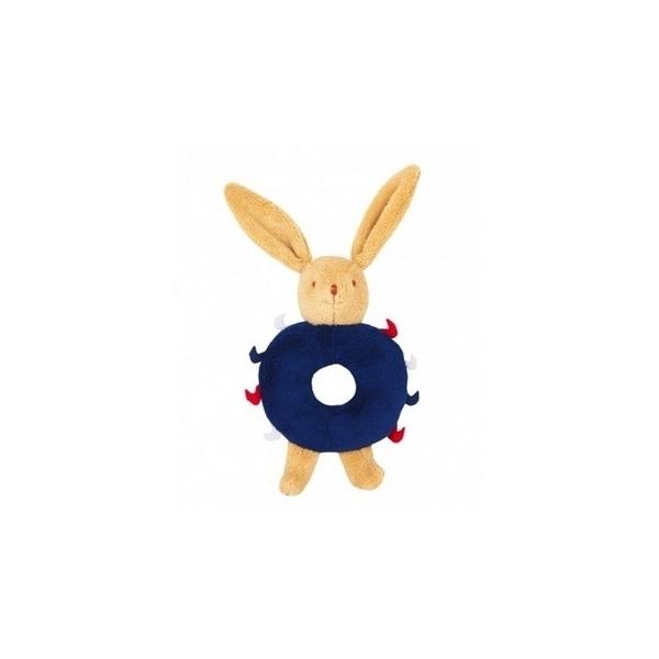 Trousselier - Lapin Hochet Anneau bleu marine 12 cm
