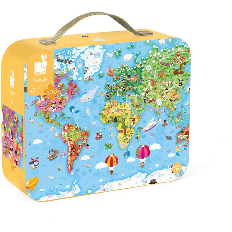 Janod - Puzzle Carte du Monde 300 pieces