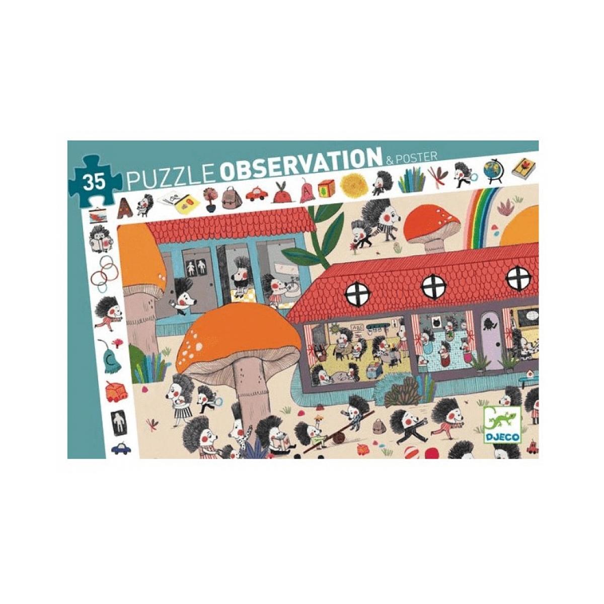 Djeco - Puzzle observation Ecole des herissons 35 pcs