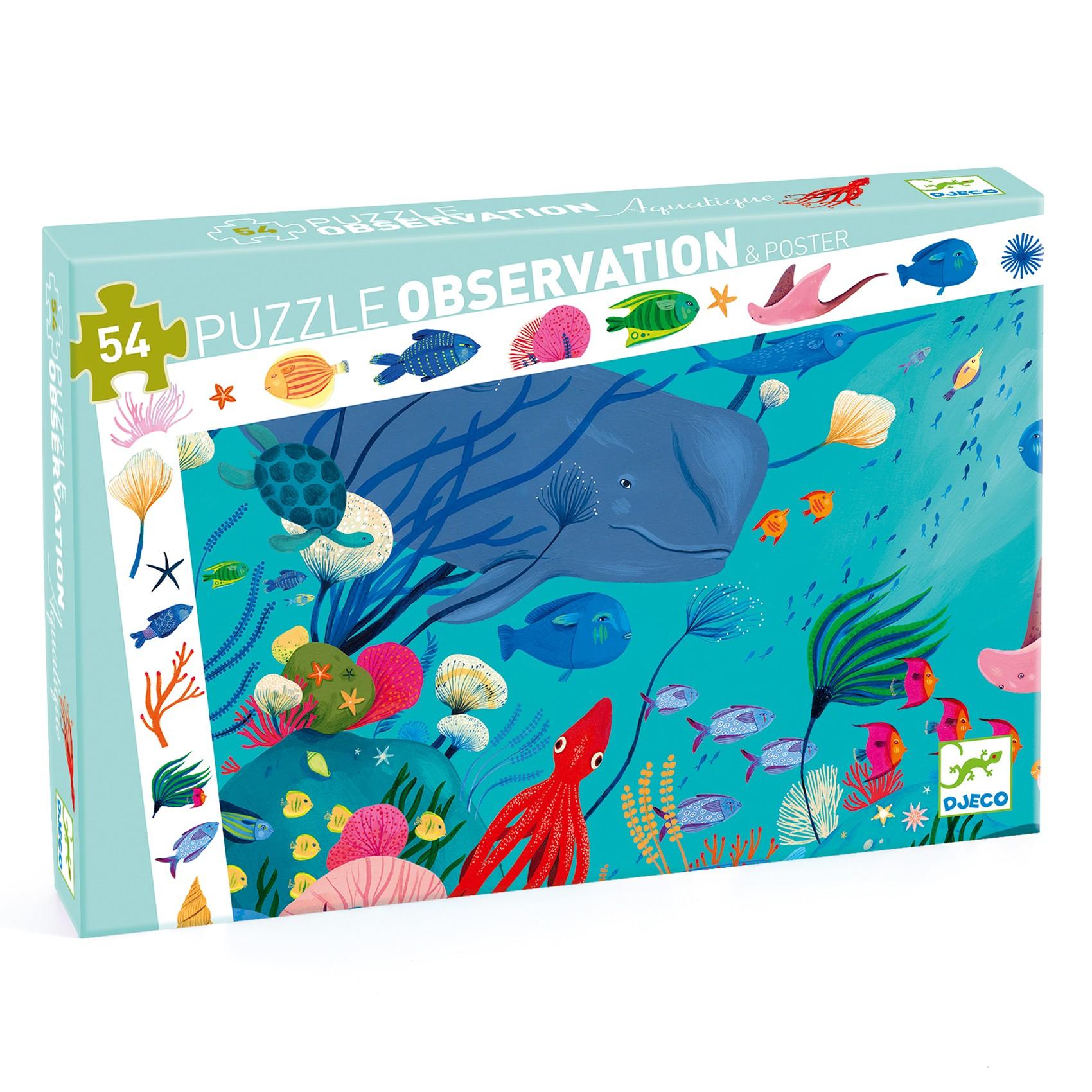 Djeco - Puzzle D'Observation - Aquatique 54 Pièces