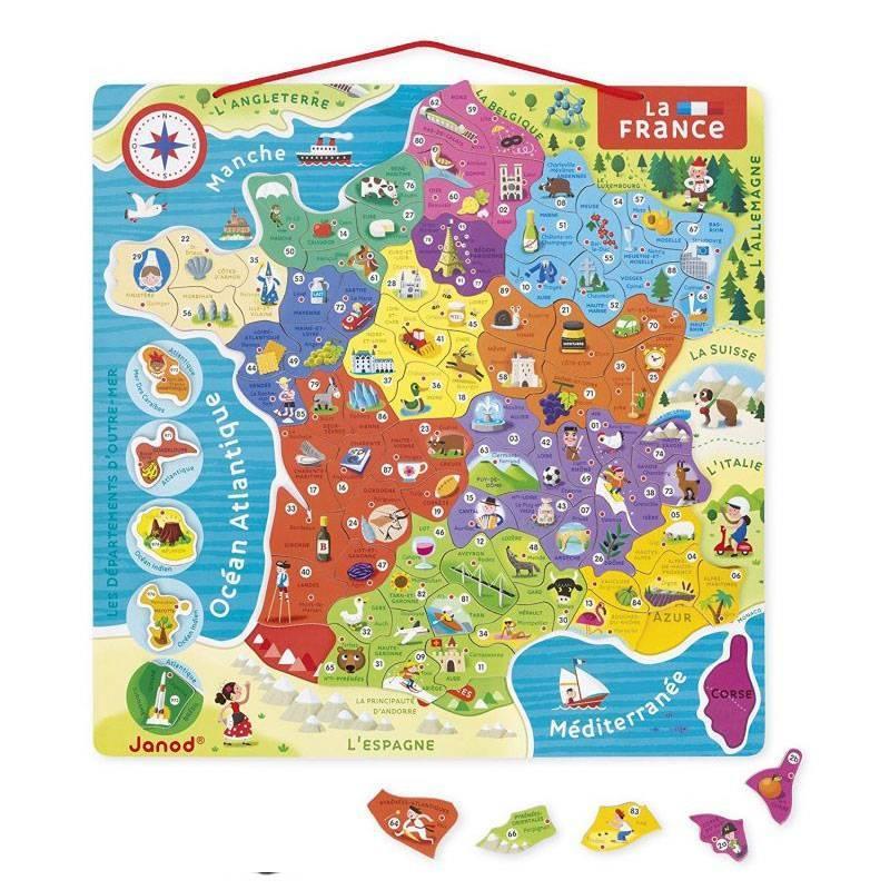 Janod - Puzzle magnetique France 93 pcs