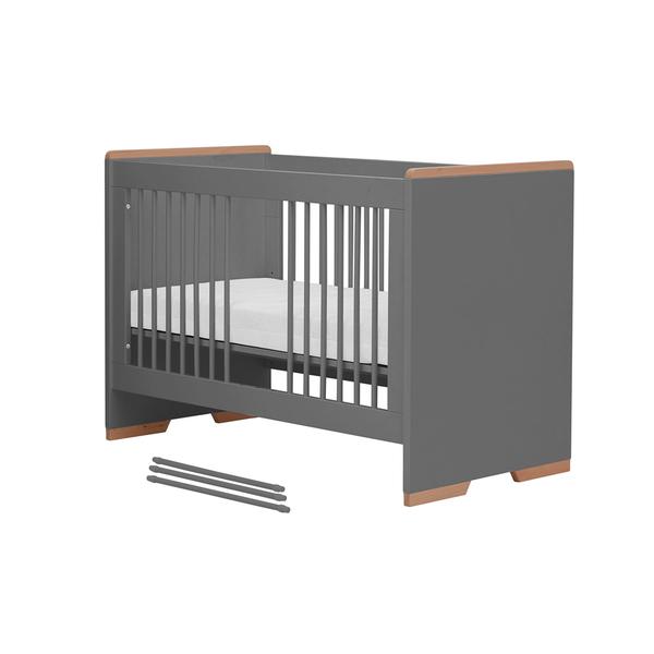 Pinio - Lit bébé 60x120 Snap - Gris et bois