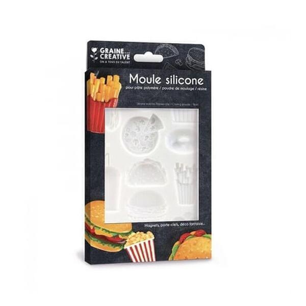 Graine Créative - Moule en silicone pour pâte polymère - Junk Food - 20 x 13 cm