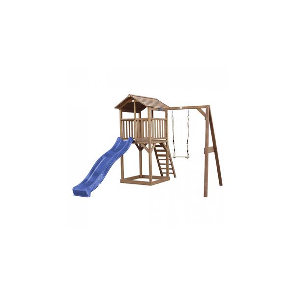 Axi - AXI Beach Tower avec Balancoire Simple Marron Toboggan Bleu