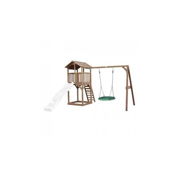 Axi - AXI Beach Tower avec balancoire nid  Marron Toboggan Blanc