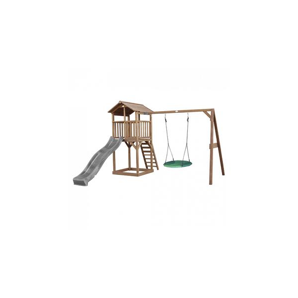 Axi - AXI Beach Tower avec balancoire nid  Marron Toboggan Gris