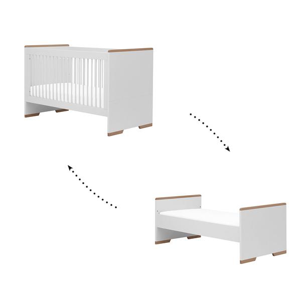 Pinio - Lit évolutif 70x140 Snap - Blanc et bois
