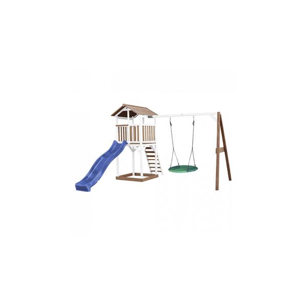 Axi - AXI Beach Tower avec balancoire nid Marron Blanc Bleu Toboggan