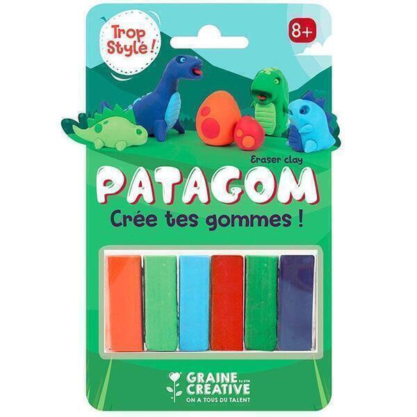 Graine Créative - Gomme à modeler Patagom 6 couleurs - Dinosaures