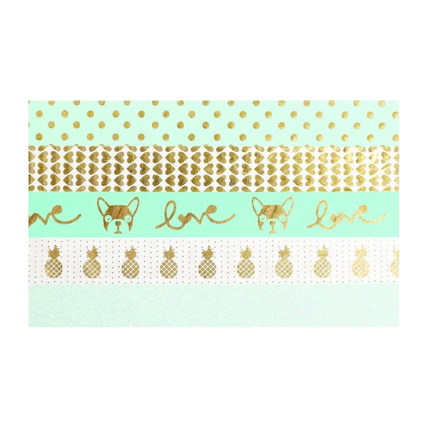 Graine Creative - 5 masking tapes menthe et or