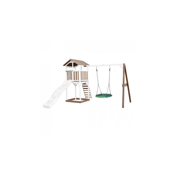 Axi - AXI Beach Tower avec balancoire nid  Marron Blanc Toboggan Blanc
