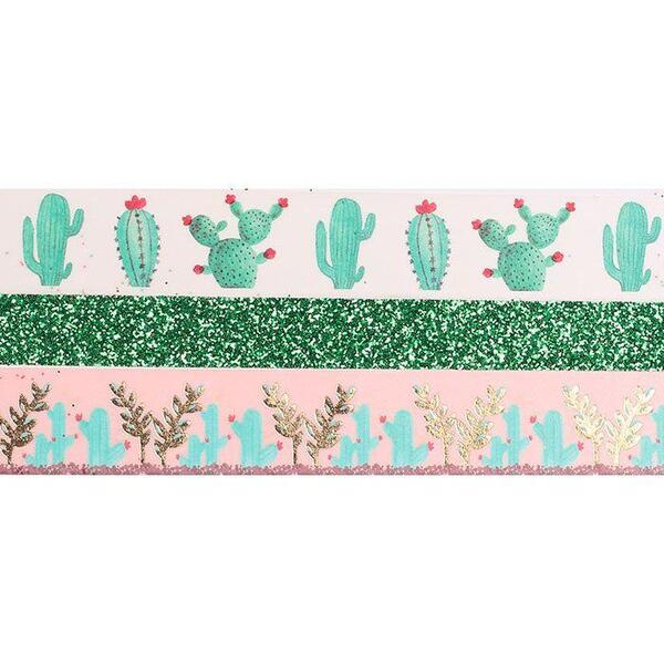 Graine Creative - 3 Tapes Glitter Cactus 2x5 m