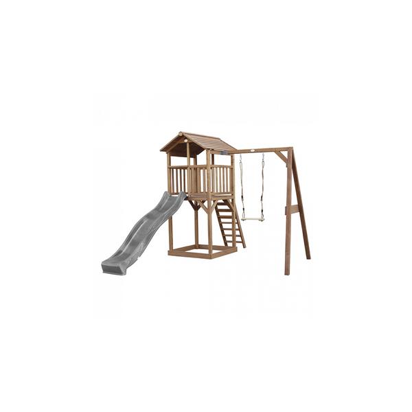 Axi - AXI Beach Tower avec Balancoire Simple Marron Toboggan Gris