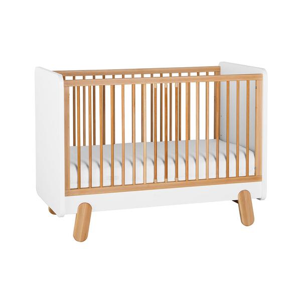Pinio - Lit bébé 60x120 Iga - Blanc et bois
