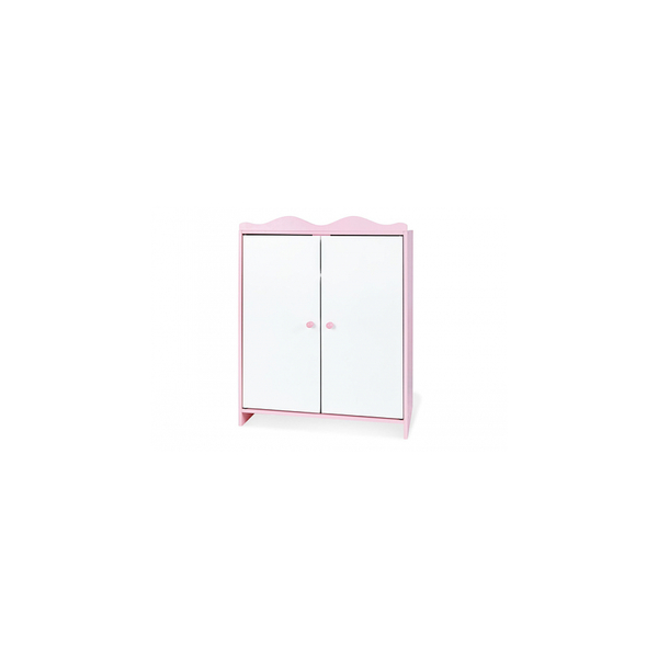 Pinolino - Armoire de poupee Jasmin Laque MDF rose et laque blanc