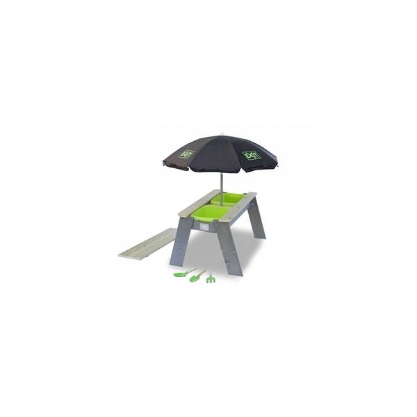 Exit - Aksent Table bac a sable et a eau L + Parasol + Outils de jardin